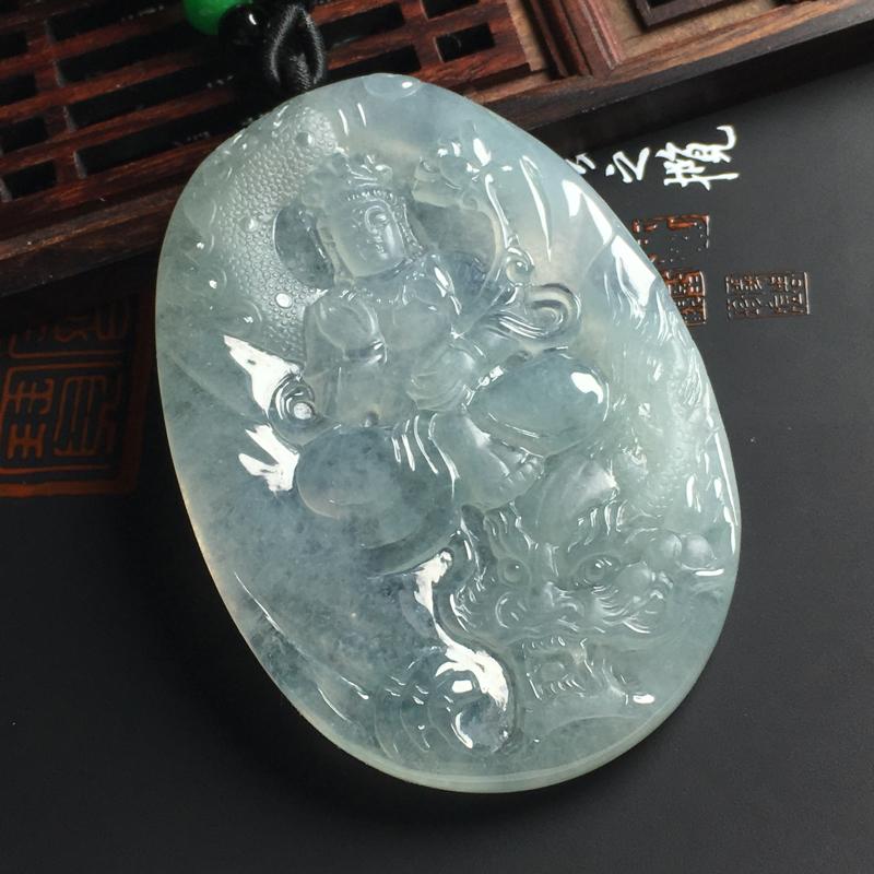 冰糯种晴底乘龙观音吊坠 尺寸73-46-7毫米 水润通透 雕工精湛
