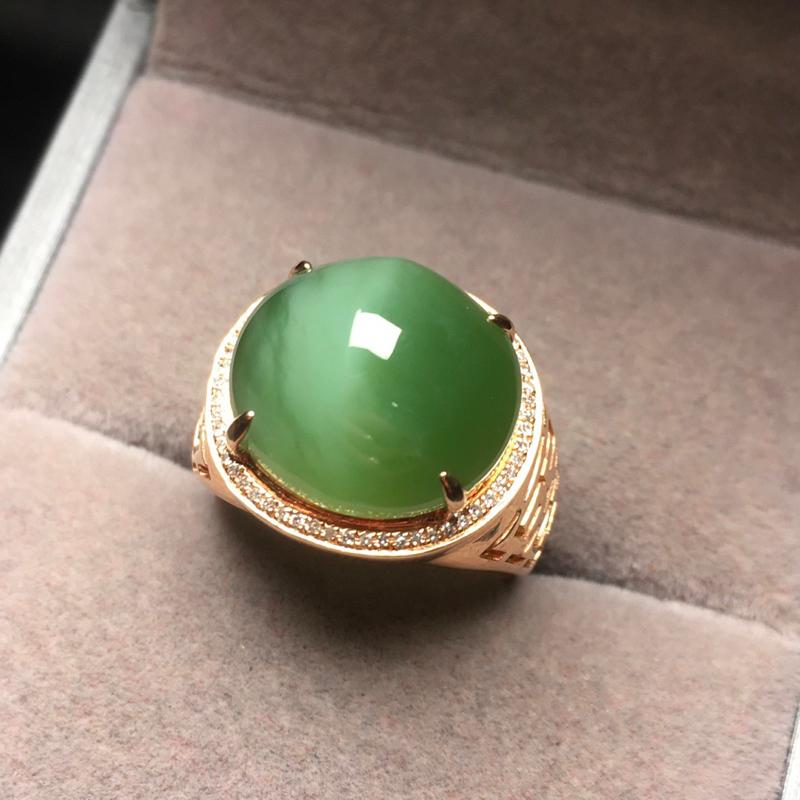 【碧玉 戒指】 裸石规格:13.7/15mm 戒指圈口:18 天然和田玉,老坑俄料  猫眼戒指,颜色