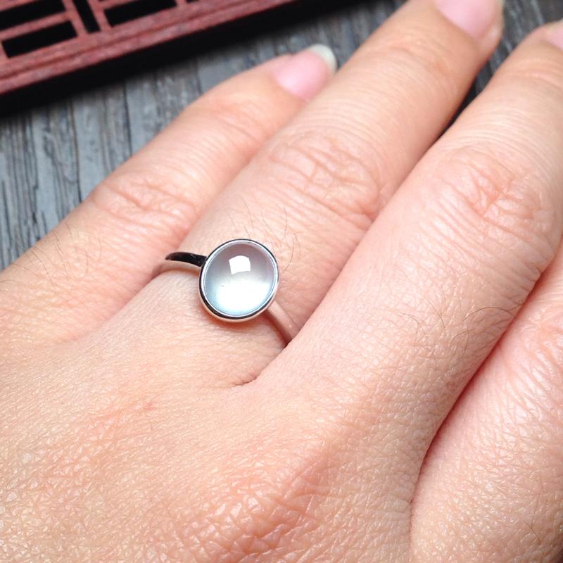 【白冰起光戒指,裸石10*8.5*5.5 戒圈13 老种,通透无比,清澈见底,起光起胶,简约清爽】图10