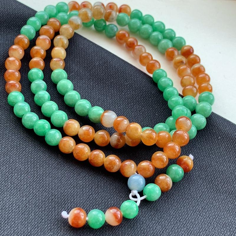 双彩圆珠项链_种好,玉质细腻,色彩迷人,形体漂亮,水头饱满,水润精致,上身效果极佳,尺寸6.6mm
