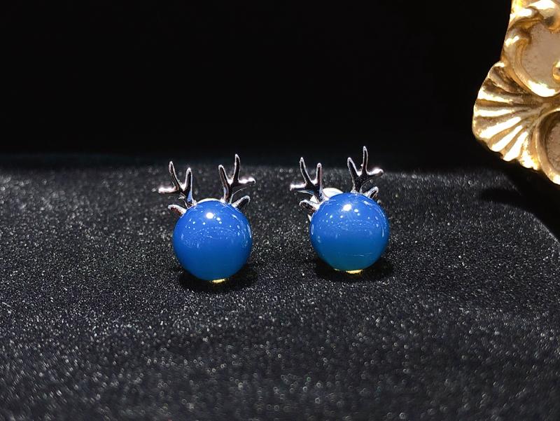 【多米尼加蓝珀·18K小鹿耳钉】18K白金镶多米尼加天空蓝主石,精品成色💎配镶南非钻石,收藏自珍美物