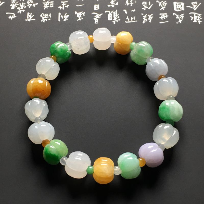 糯种多彩南瓜手串 18颗 质地细腻 色彩艳丽 款式新颖