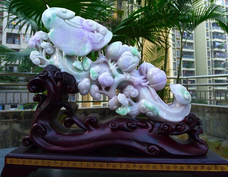 大件 玉如意摆件 缅甸天然翡翠A货 精美春带彩 紫罗兰 如意摆件 万事如意 事事顺心雕刻精美线条流畅
