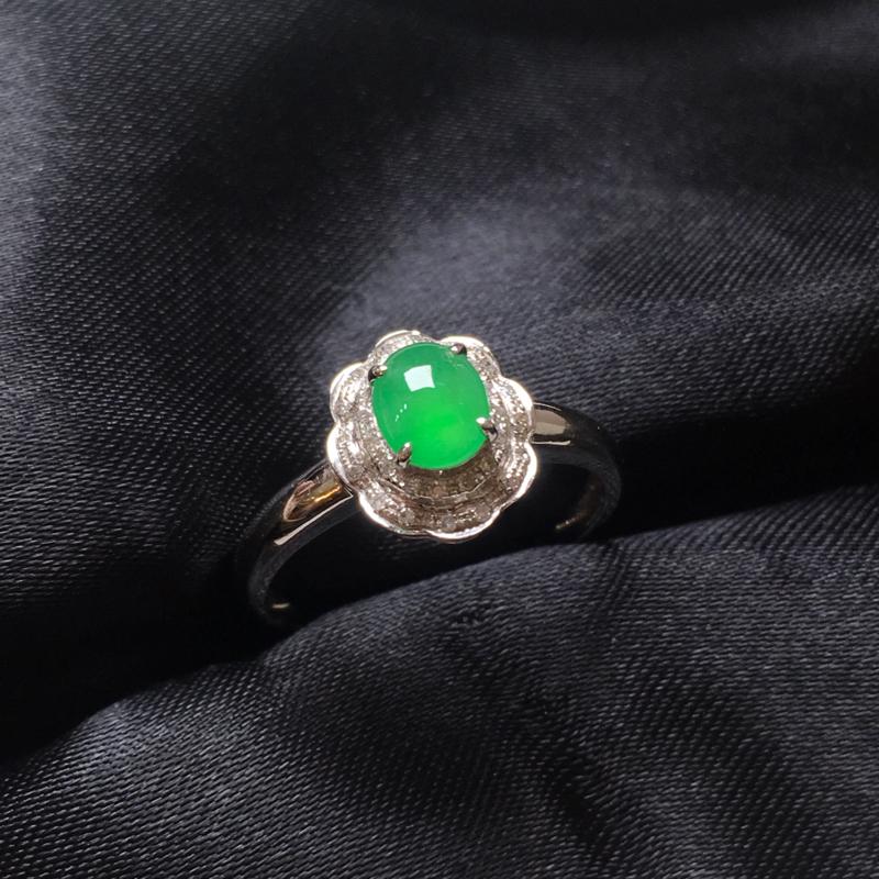 翡翠a货,满绿蛋面戒指