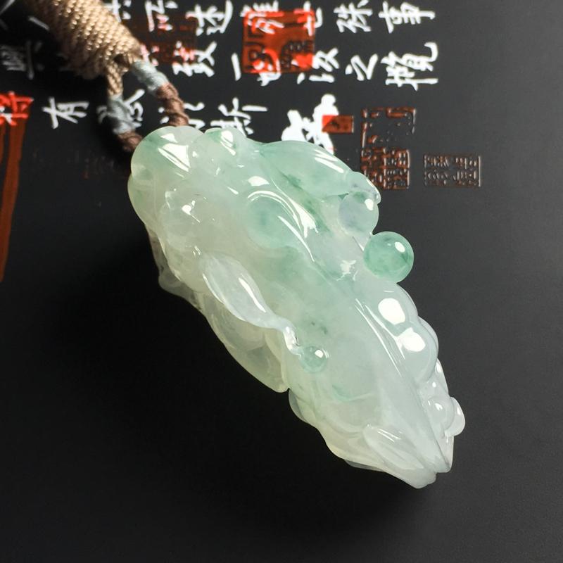 冰糯种飘花貔貅吊坠 尺寸49-20-18毫米 飘花清爽  水润通透 雕工精美