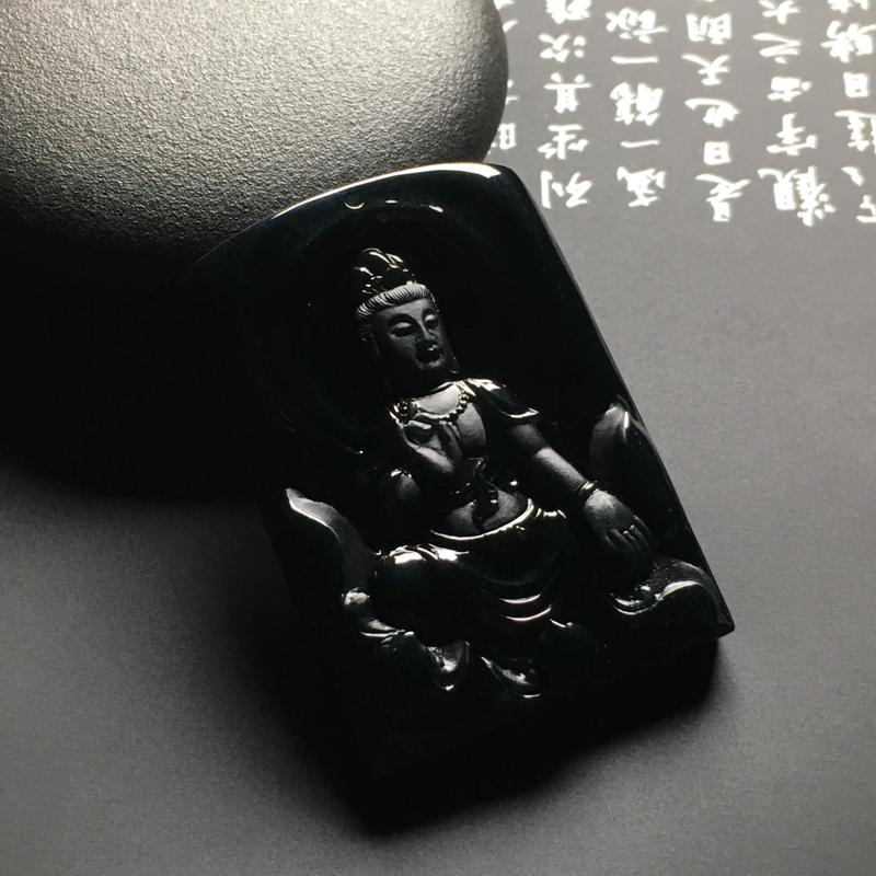 冰种墨翠观音吊坠 黑度佳 雕工精湛 打灯通透 翠色艳丽 质地细腻
