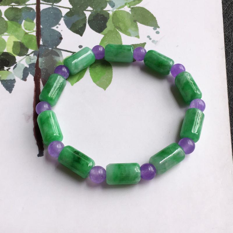 路路通手链,天然翡翠A货,配证书[玫瑰]紫色珠子是装饰品