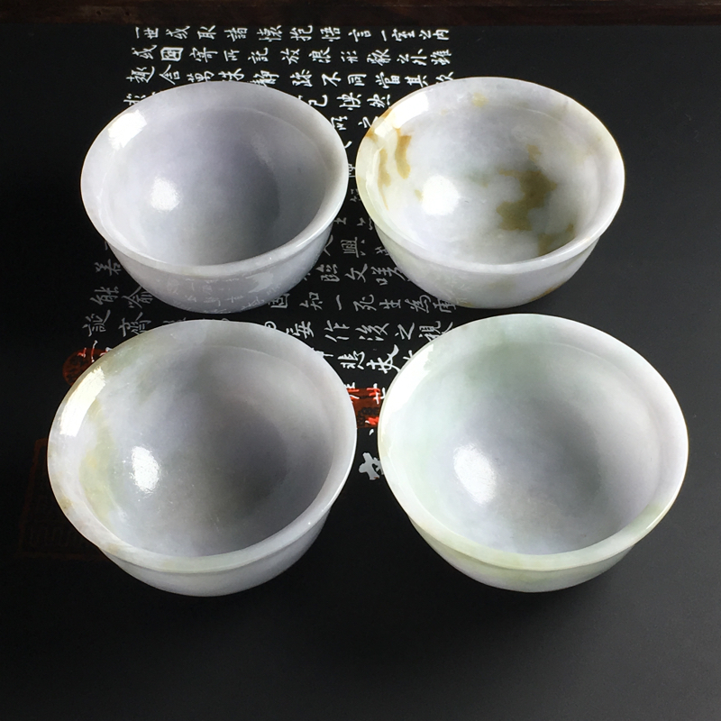 糯种茶杯摆件 单件茶杯尺寸56-28毫米 玉质水润