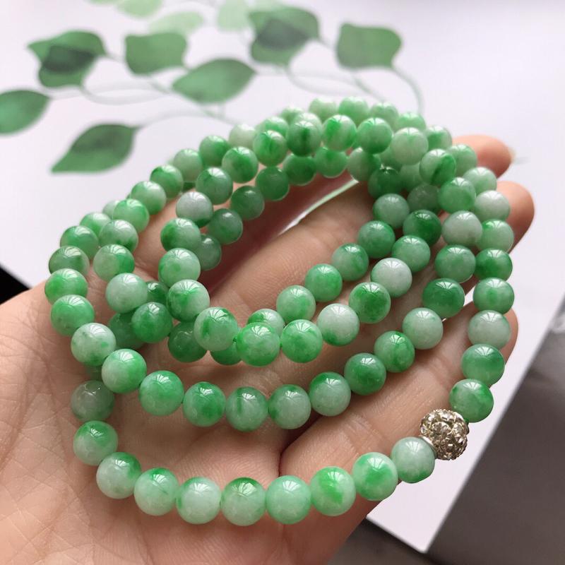 飘绿福气项链,尺寸:6.4mm天然翡翠A货,中间配珠是装饰品