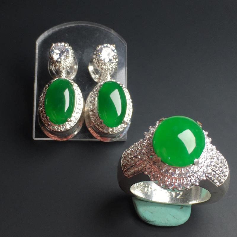 【满色蛋面】铜托  色泽艳丽  玉质细腻  饱满圆润  品相佳  裸石11-11-5毫米