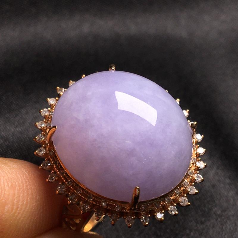 天然翡翠A货,18k金镶嵌钻石,紫罗兰戒指,料子细腻,冰透水润,色泽鲜艳,饱满大气,款式精美,性价比