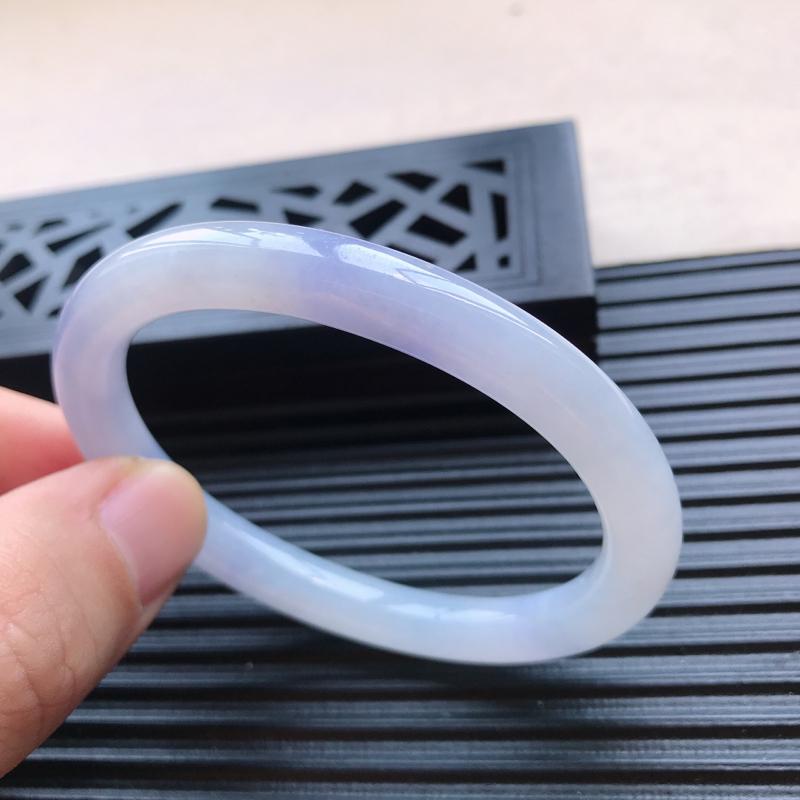 天然翡翠A货糯化种水润紫罗兰贵妃手镯,尺寸55-46.1-8-7.5mm,相当于正圈53mm