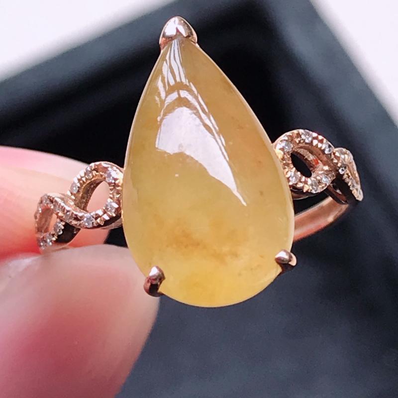 0117,翡翠18k金镶钻石黄翡戒指,裸石尺寸 15.7*8.2*3.5,镶金尺寸:15.7*8.2