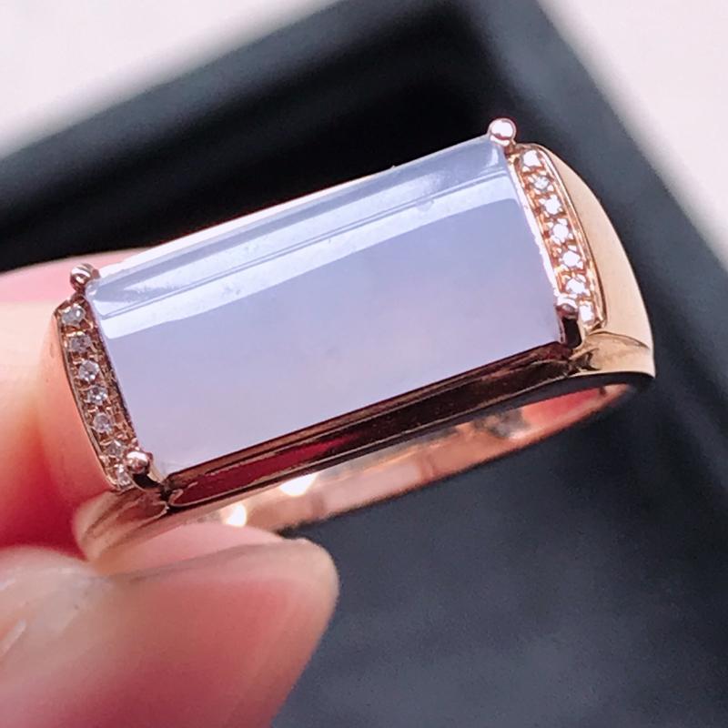 0117,翡翠18k金镶钻石紫罗兰戒指,裸石尺寸 6*13.6*3,镶金尺寸:6*13.6*6,内径