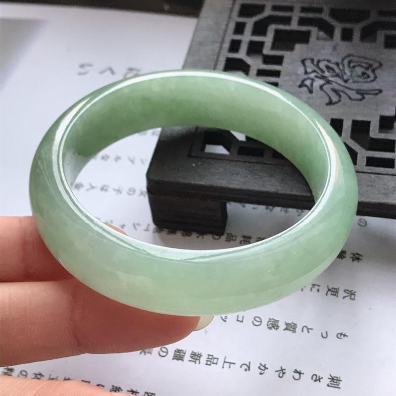 正圈,缅甸天然翡翠A货老坑手镯,尺寸54.8/15/8.6有种版型好上手高档