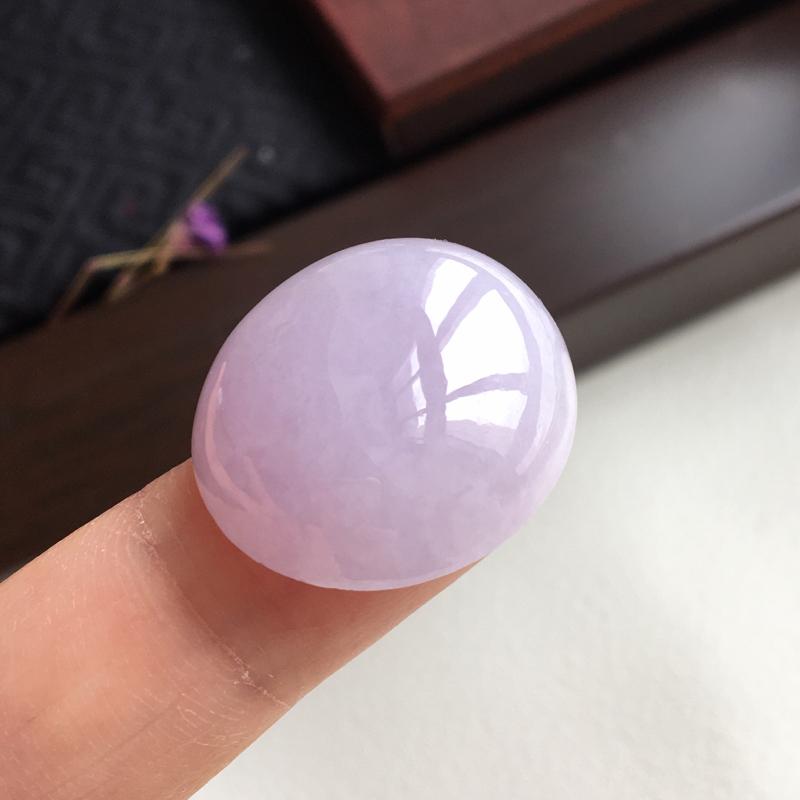 完美 天然翡翠A货紫罗兰蛋面 有种有色 见光也是那么紫 22.8-20.5-8.3mm