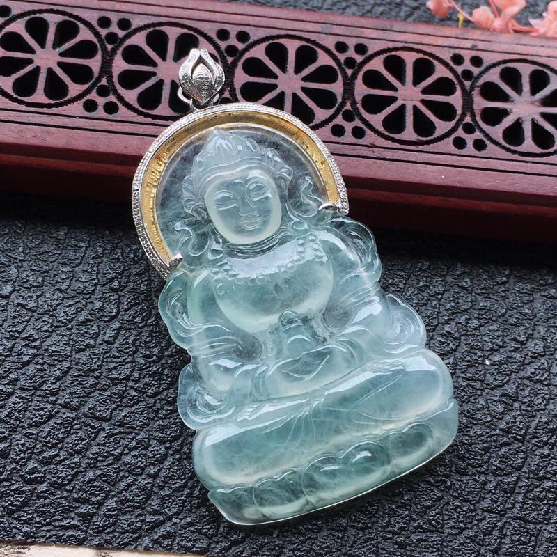 缅甸翡翠18K金伴钻镶嵌观音吊坠,颜色好,玉质细腻,雕工精美,佩戴送礼佳品,包金尺寸: 47.9*2