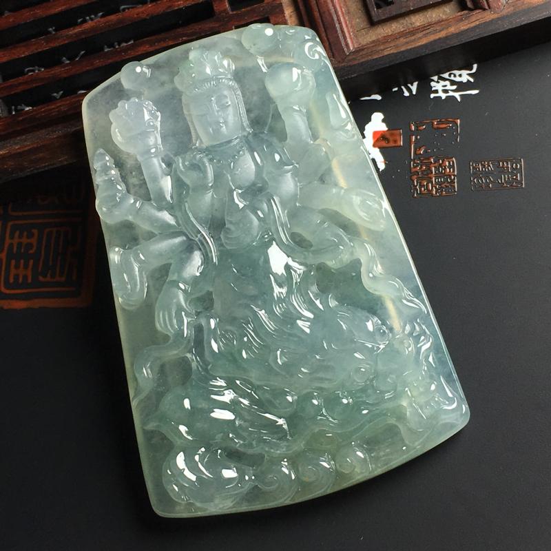 冰糯种晴底乘龙观音吊坠 尺寸66-43-6毫米 水润通透 雕工精致