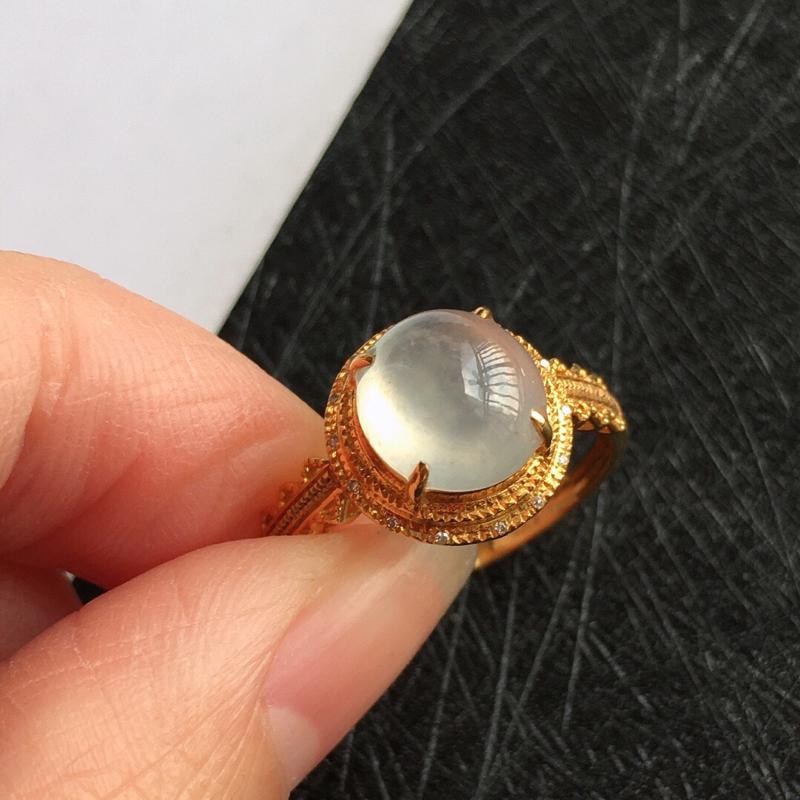 18k金伴钻福气戒指。。天然翡翠A货,配证书[玫瑰]总10.7/10.6/8mm