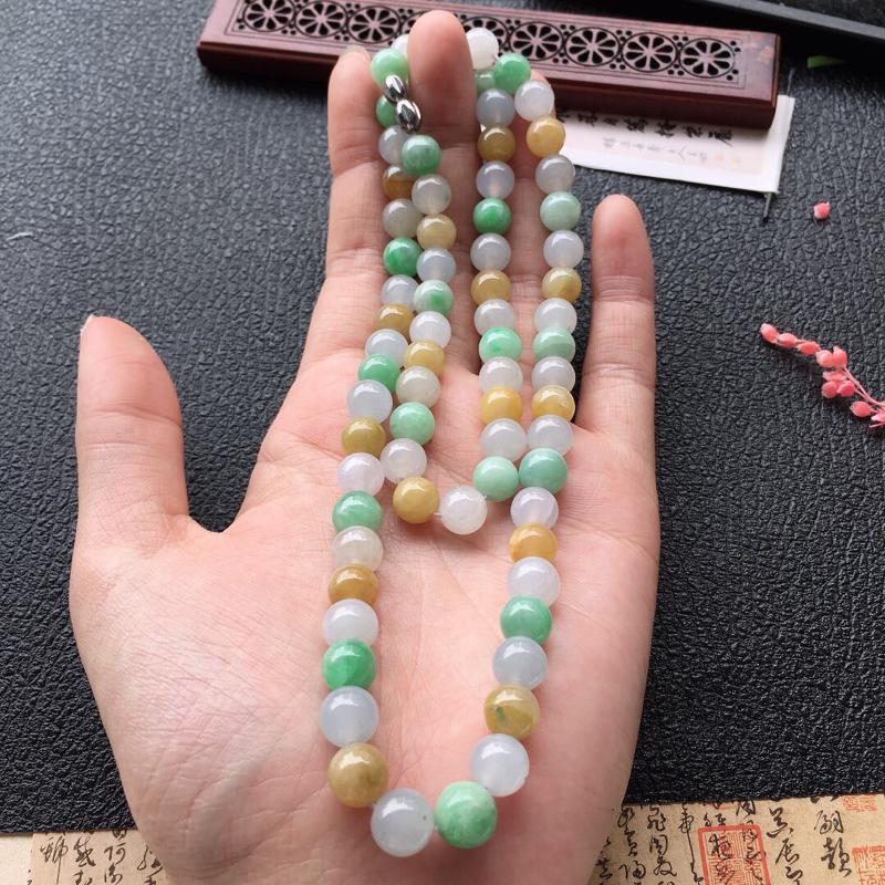 缅甸翡翠多彩项链,自然光实拍,颜色漂亮,玉质莹润,佩戴佳品,单颗尺寸大:7.7mm,单颗尺寸小:7.