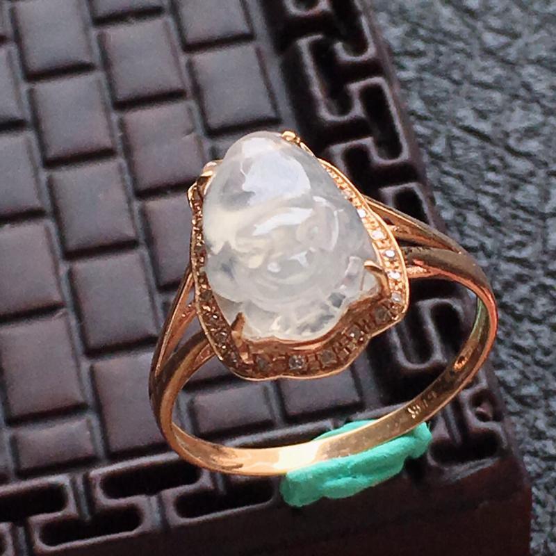 缅甸翡翠17圈口18k金伴钻镶嵌貔貅戒指,自然光实拍,颜色漂亮,玉质莹润,佩戴佳品,内径:17.0m