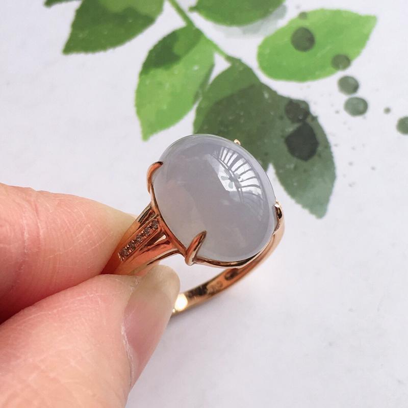 紫罗兰18k金伴钻福气戒指//天然翡翠A货,配证书[玫瑰]包金厚度8.5mm