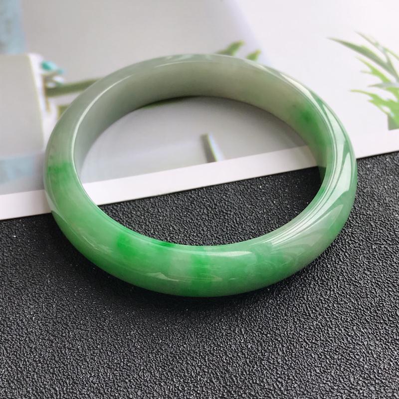 正圈,缅甸天然翡翠A货老坑手镯,尺寸56.5/11.5/7.8飘阳绿宽边手镯上手高档