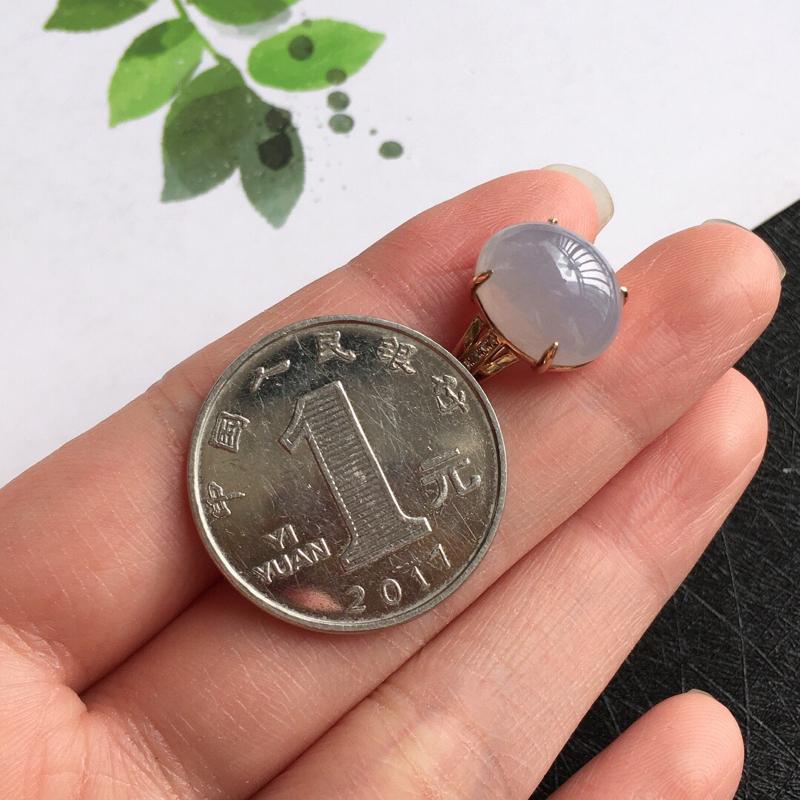 【紫罗兰18k金伴钻福气戒指//天然翡翠A货,配证书[玫瑰]包金厚度8.5mm】图5