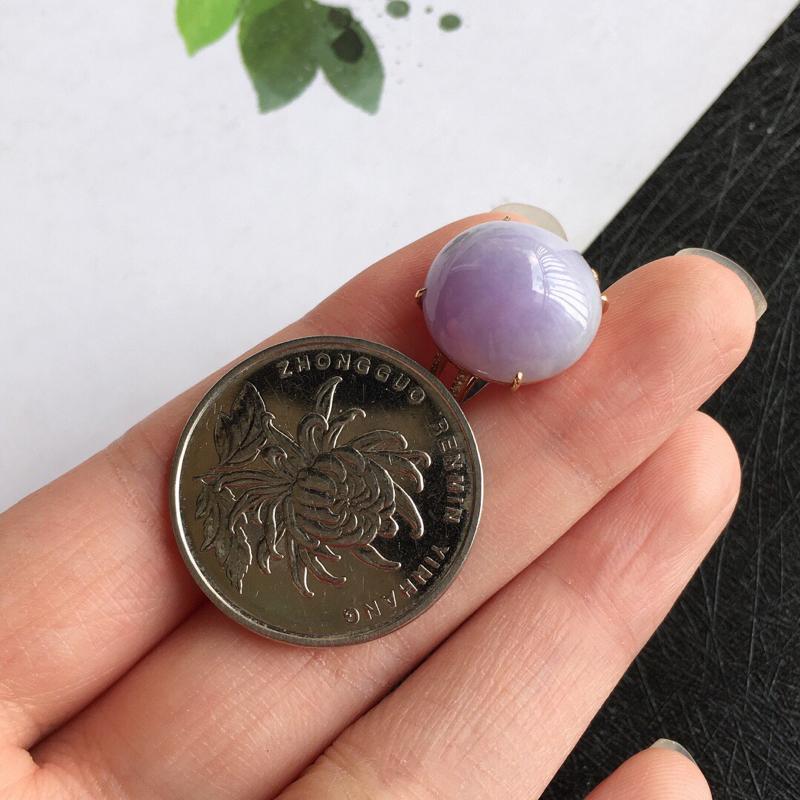 【紫罗兰18k金伴钻福气戒指//天然翡翠A货,配证书[玫瑰]包金厚度9.2mm】图5