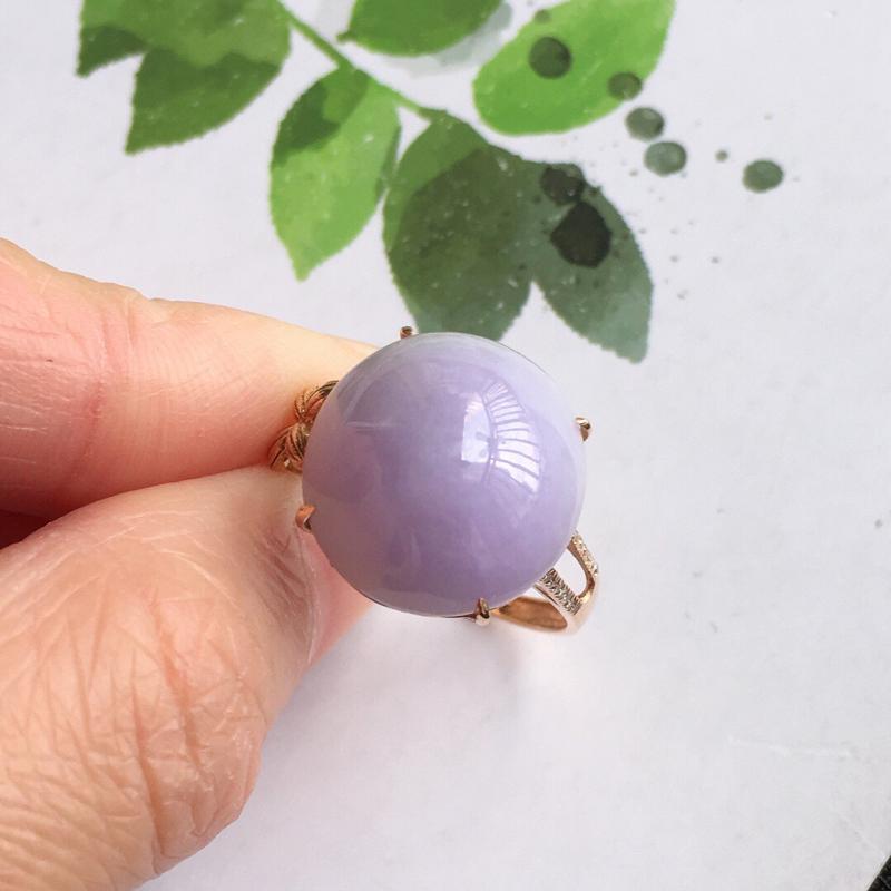 【紫罗兰18k金伴钻福气戒指//天然翡翠A货,配证书[玫瑰]包金厚度9.2mm】图3