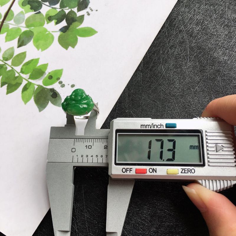 【18k金伴钻佛公戒指,天然翡翠A货配证书[玫瑰]包金厚度6.9mm】图6