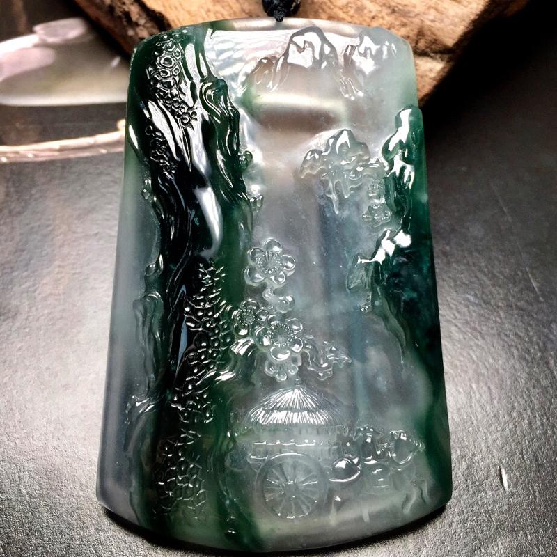 新年推荐臻艺工作室出品,收藏级,高冰种特色山水牌,满载而归。老坑料,种质一流,通透起强光,强玻璃