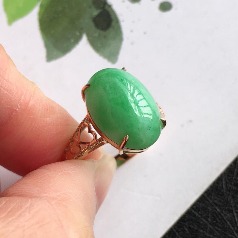 【满绿18k金伴钻福气戒指,天然翡翠A货,配证书[玫瑰]包金厚度7.6mm】图5