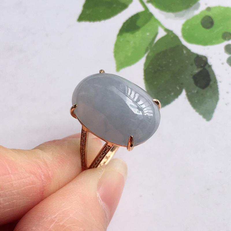 紫罗兰18k金伴钻福气戒指,天然翡翠A货,配证书[玫瑰]包金厚度6.8mm