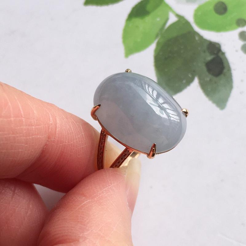 【紫罗兰18k金伴钻福气戒指,天然翡翠A货,配证书[玫瑰]包金厚度6.8mm】图5