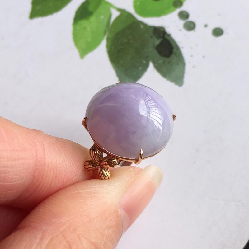 紫罗兰18k金伴钻福气戒指//天然翡翠A货,配证书[玫瑰]包金厚度9.2mm