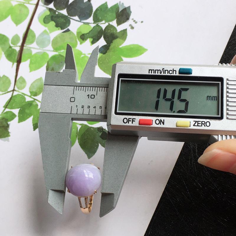 【紫罗兰18k金伴钻福气戒指//天然翡翠A货,配证书[玫瑰]包金厚度9.2mm】图9