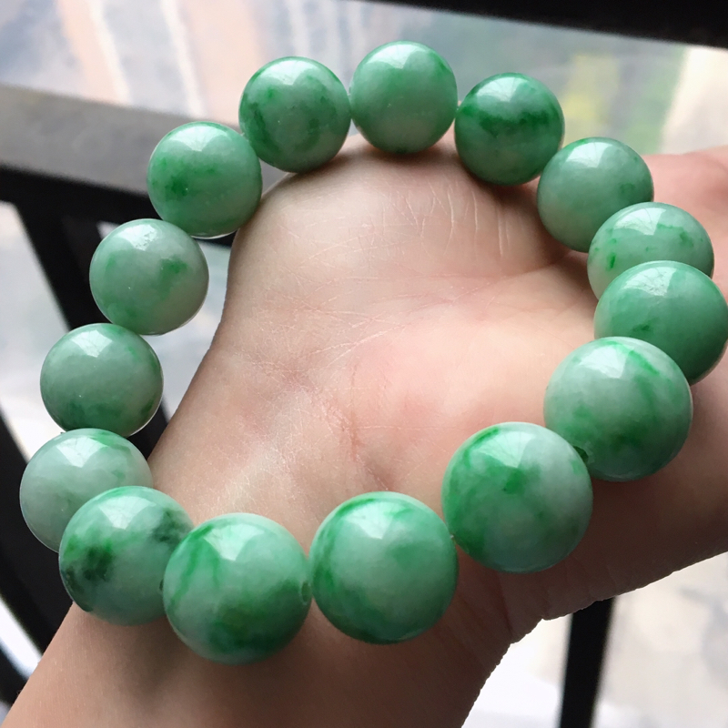 【原价3300】*缅甸翡翠A货满绿飘花大圆珠手链,15.2mm,玉质细腻,老坑水足