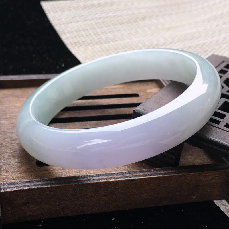 圈口:60,天然翡翠A货—紫罗兰莹润正圈手镯,尺寸:60.2/13.8/8.3,完美