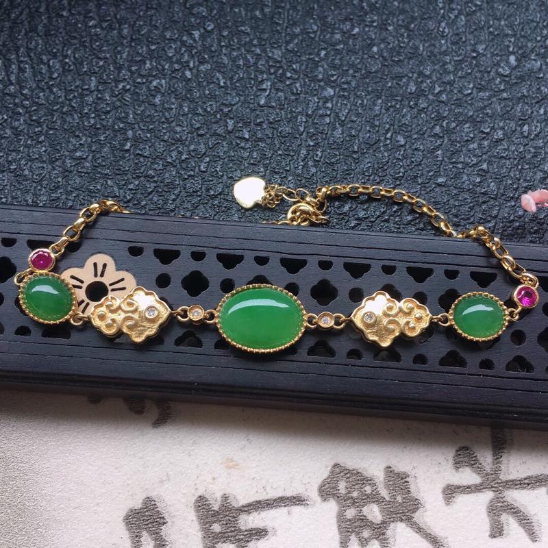 【原价4540】*缅甸翡翠18K金伴钻镶嵌满绿蛋面手链,颜色好,玉质细腻,雕工精美,佩戴送礼佳品,包