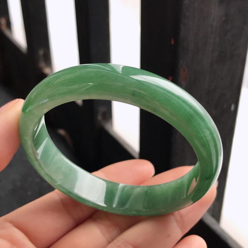 满绿正圈,缅甸天然翡翠A货老坑手镯,尺寸55.5-12.6-6.7上手高档