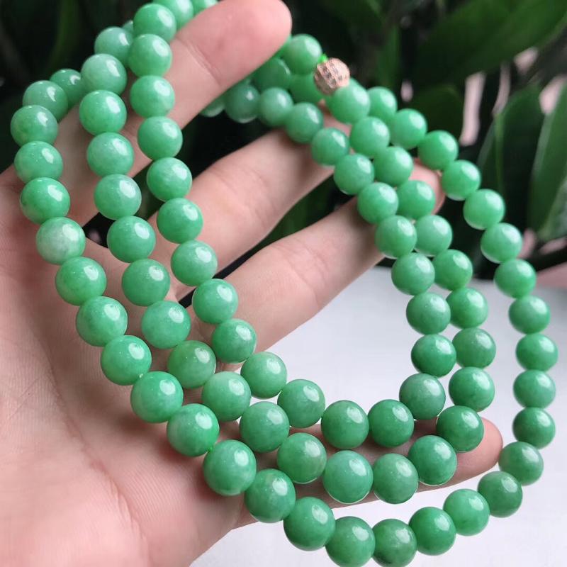 天然A货翡翠满绿圆珠项链,共96颗珠子单颗尺寸8.8mm.重量114.33g##**