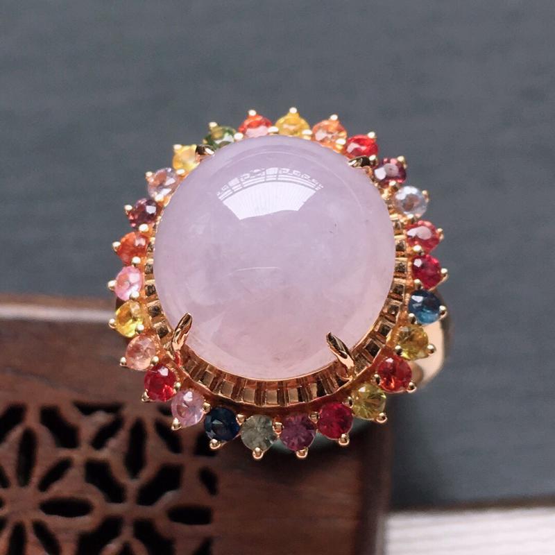 18k金镶嵌其他宝石冰糯种紫罗兰蛋形戒指,