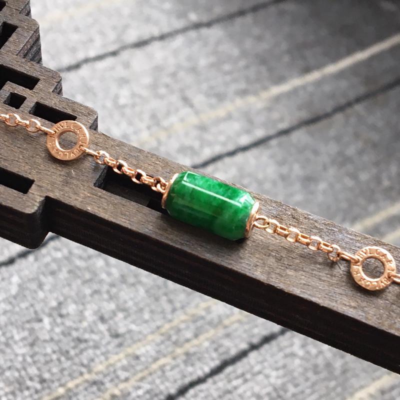 完美,缅甸翡翠A货满绿飘花路路通手链,镶嵌18K金伴钻,路路通总尺寸12.9-7mm