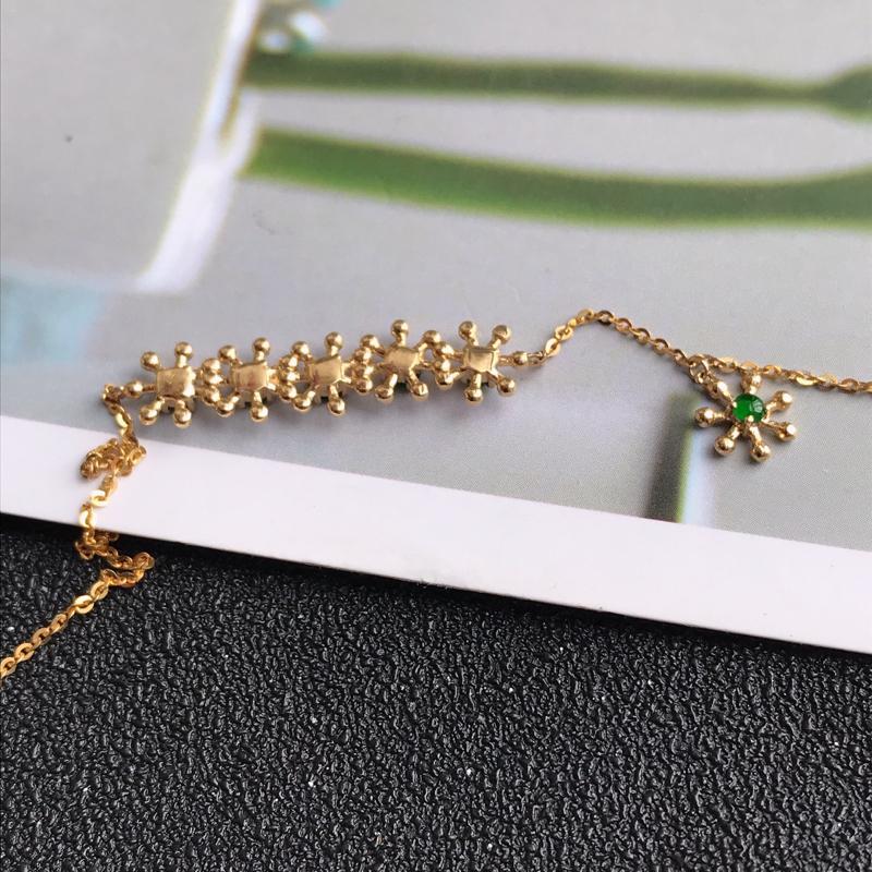 18k金手链,缅甸天然老坑A货翡翠,尺寸   裸石长3.3*3 总长18cm 完美,料子細膩