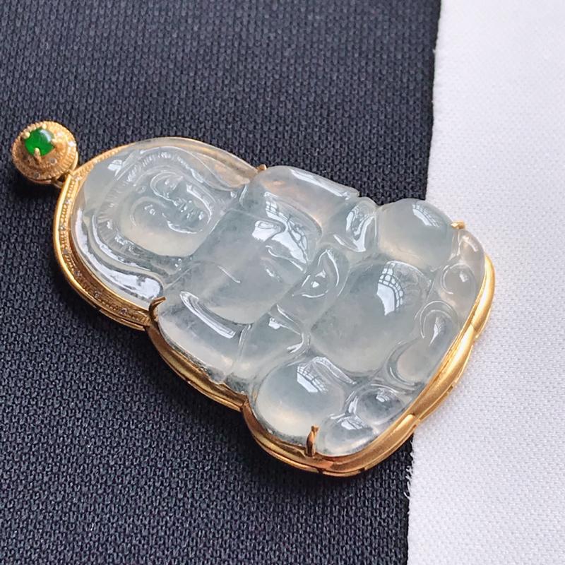翡翠A货,18K金镶嵌冰种观音吊坠,玉质细腻,底色漂亮,上身高贵,尺寸连金48.9/27.9/7.3