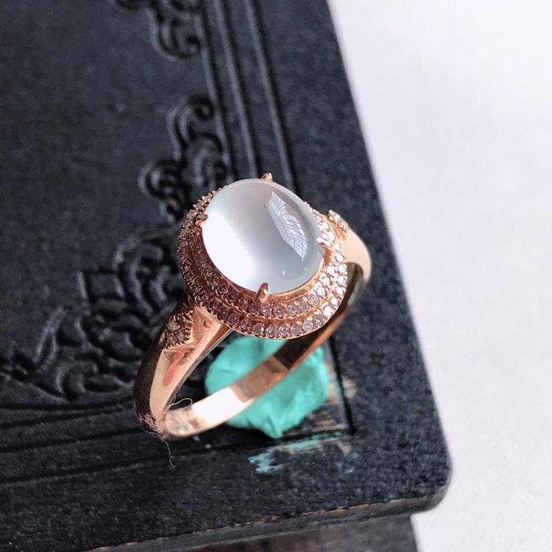 天然翡翠A货18k金镶嵌冰种蛋面戒指,含金尺寸:11.4×10×8.2mm,裸石尺寸:7.9×7×3