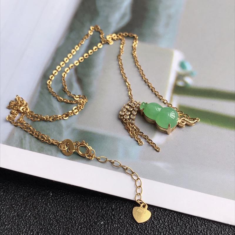 葫芦项链,缅甸天然老坑A货翡翠,尺寸 包金长21*8*5.8 裸石长12*7.6*4.5  完美,料