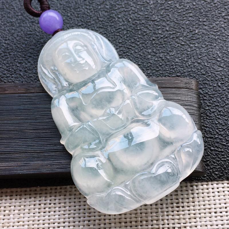 精品翡翠观音吊坠,雕工精美,玉质莹润,顶珠为艺术珠,尺寸:52*32.1*6.2MM,总质量:17.