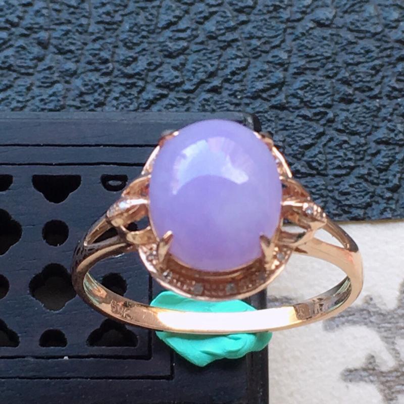 缅甸翡翠16圈口18k金伴钻镶嵌紫罗兰蛋面戒指,自然光实拍,颜色漂亮,玉质莹润,佩戴佳品,内径:16